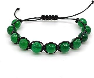 Bracciale Agata Verde Unisex Shamballa il Bracciale della Felicità, Grandezza Regolabile, Fatto a Mano, Pietre Dure Naturali