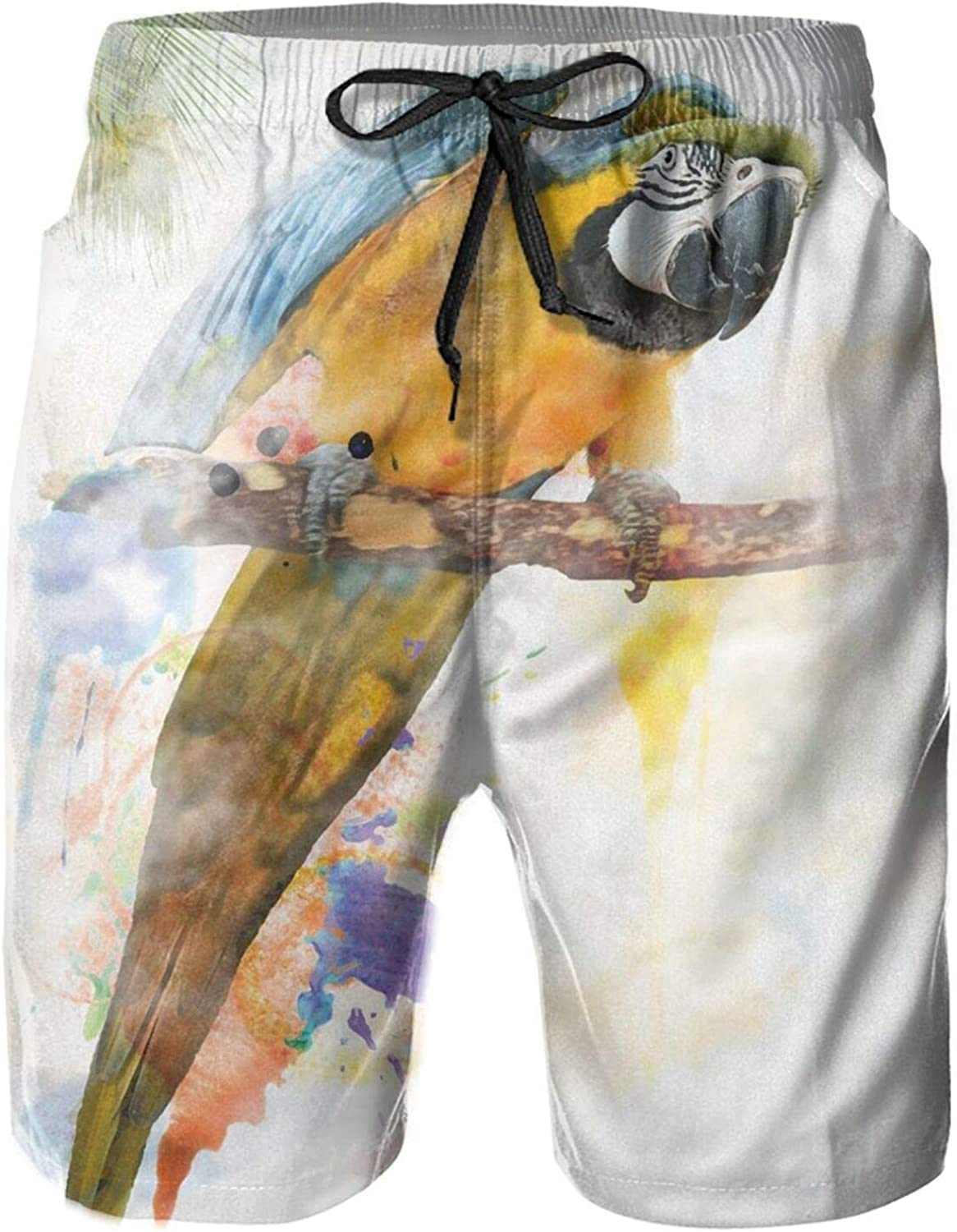 Parrot On A Tropical Tree with Colorful Feathers in Watercolor Style Perching Macaw Mens Swim Trucks Shorts with Mesh Lining,XL