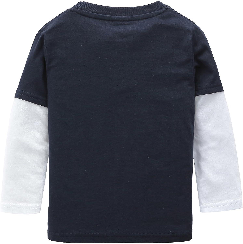 HowJoJo Boys Long Sleeve Cotton T-Shirts Fire Truck Cartoon Shirt Graphic Tees