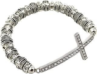Sideways Curved Cross Stretch Bracelet.