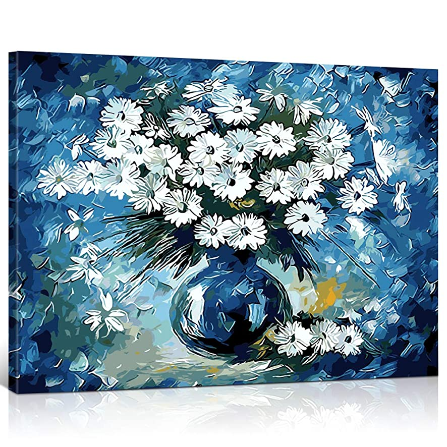 Fengtuo DIY Oil Painting Paint by Number Kit Canvas Painting Hand Colouring Decorative Picture- Daisy Blues 16