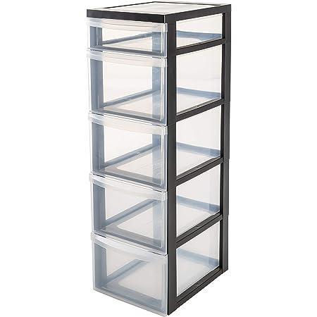 Iris Ohyama, armoire de rangement sur roulettes à 5 tiroirs - Design Chest - DC-314, plastique, noir/transparent, 67 L, 40 x 29 x 92 cm