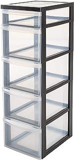 Iris Ohyama, armoire de rangement sur roulettes à 5 tiroirs - Design Chest - DC-314, plastique, noir/transparent, 67 L, 40...