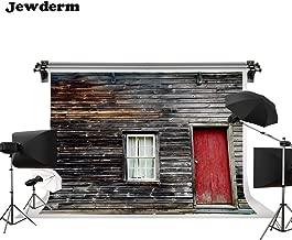 Jewderm 10x6.5ft Photography Backdrop Retro Wooden Wall Board Photo Background Vintage Red Door Window Video Studio Props