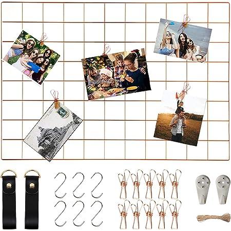 WUZILIN - Estante de Rejilla de Pared para Manualidades, de Hierro, para Colgar Fotos en el tablón de Notas, en la Familia, Cocina, Oficina, etc. 45 * 65CM…