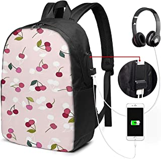 Mochila con Interfaz USB Pink Cherry 17-Inch Laptop Backpack with USB Charging Port Men's and Women's Backpack TSA College School Business Travel Large Bags