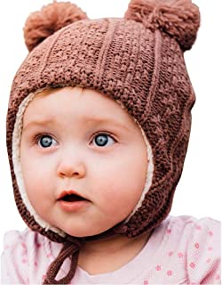 Baby Toddler Winter Hat, Warm Sherpa Lined Earflap Beanie, Knit Mittens or Hat & Mittens Set