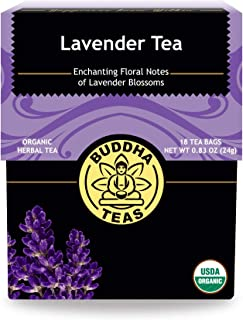 Organic Lavender Tea, 18 Bleach-Free Tea Bags, Organic Caffeine-Free Tea is a Great Source of Vitamins, Minerals, & Antioxidants, Relieves Anxiety, Supports Healthy Sleep & Brain Function, No Gmos