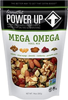 Power Up Trail Mix, Mega Omega Trail Mix, Non-GMO, Vegan, Gluten Free, No Artificial Ingredients, Gourmet Nut, 14 oz Bag, Green