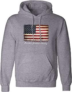 Vintage American Flag Hoodie Pullover Fleece for Men - USA Flag Sweatshirt, Gift, Cotton Poly Blend, Ultra Soft