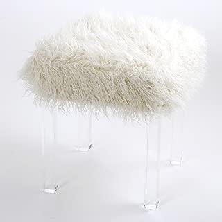 Best Home Fashion Mongolian Lamb Faux Fur Acrylic Square Leg Stool - 16