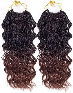 Senegalese Twist Crochet Braids Hair Jumbo Synthetic Braiding Hair Extensions 35 Roots/Pack 85g Kanekalon Ombre Senegalese Box Braids Hair (14 inch 5pcs, 1b/30)
