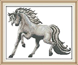 Cross Stitch Stamped Kits Quilt Pre-Printed Patterns Cross-Stitching for Beginner Kids Adults 11CT Embroidery Crafts Needlepoint Starter Kits, Horse