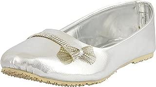 RYAG Ethnic Rajasthani Jaipuri Bellies Shoes for Ladies and Girls UK 04 Silver