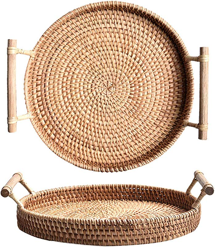 Rattan Serving Tray Platter Round Bread Serving Basket Vintage Style Woven Food Serving Tray Exquisite Small Basket With Wooden Handle For Breakfast Bed Bar Dinner Parties 9 5inch