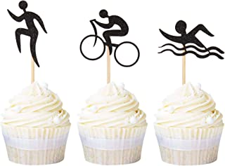 Newqueen 24 Pack Swim Bicycle Run Cupcake Toppers Black Glitter Triathlon Cupcake Picks Baby Shower Birthday Sports Theme Party Cake Decoration