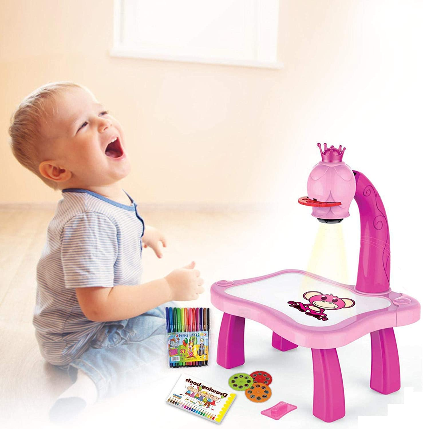 with Light /&Music Aicheng Projector Drawing Set Projector Learning//Drawing Painting Set Gift for Kids Children Educational Tool Drawing Table Child Learning Desk with Smart Projector