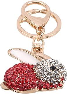 XIAOGINGV Carino Coniglio Stile Animal Strass Decorato Portachiavi Bright Crystal Keychain Bello Sparkly di Cristallo di F...