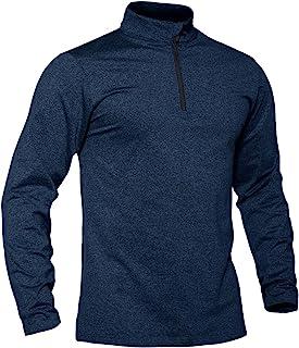 TACVASEN Herren Langarmshirt Sport Laufshirt 1/2 Zip Trainingstop Gym Jogging Top Schnelle trockene Shirt mit Stehkragen