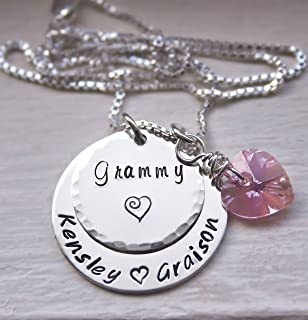 Custom Personalized Grandma Necklace, Mommy Jewelry, with Kids Names, Hand Stamped Sterling Silver Necklace