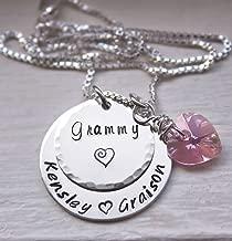 Collar personalizado de la abuela, joyería de mamá, con nombres para niños, collar de plata esterlina estampado a mano