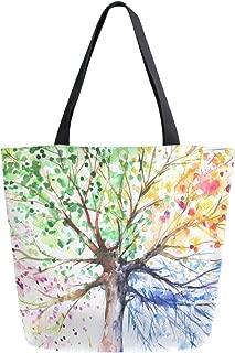 ZzWwR Chic Beautiful Four Season Tree Print Extra Large Canvas Beach Travel Reusable Grocery Shopping Tote Bag Portable Storage HandBag
