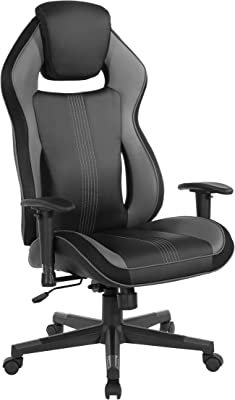 OSP Designs BOA II Ergonomic Adjustable High Back Gaming Chair, Black Bonded Leather with Grey and Blue Accents