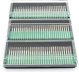 Lawei 90 pcs Diamond Burrs Bits Drill - Head Diameter 1 mm 30 pcs, 2 mm 30 pcs, 3 mm 30 pcs Glass Gemstone Metal for Power Drill Parts Accessories