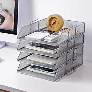 WJYLM Drawers Letter Tray Organizer, mesh Briefablage Scratch Resistant Stackable Drawer Side Landscape Folio, Letter Tray Made of Wire mesh,Silver