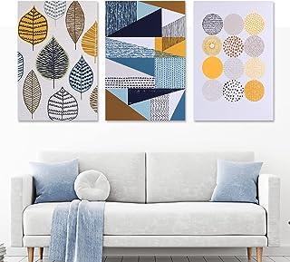 Viabrico Impression sur Toile intissee Formes géométriques inspiration scandinave Tableau 3 Parties Tableaux Decoration Mu...