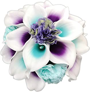 Lily Garden Artificial Calla Lily Flowers Wedding Bouquet with Ribbon (Purple and Turquoise Picasso)