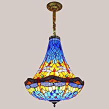 20 Inch Large Pendant Lighting Tiffany Style Stained Glass Dragonfly Lampshade Chandelier,European Style Retro Hanging Lam...