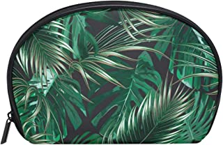 ALAZA Palm Tree Half Moon Cosmetic Makeup Toiletry Bag Pouch Travel Handy Purse Organizer Bag for Women Girls
