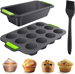 Number-one 3 Piece Silicone Bakeware Set, Reusable Silicone Cupcake Molds Set, Nonstick BPA Free Food Grade Silicone Molds with 12 Cup Silicone Muffin and Mini Loaf Pan, Pastry Brush