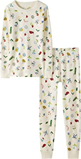 Moon and Back by Hanna Andersson Kids' Little 2 Piece Long Sleeve Pajama Set, Flowers & Critters, 6-7