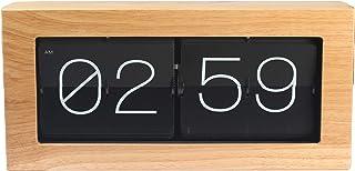 DYJD Horloge à Bascule en Bambou à Affichage numérique à Piles rétro Automatique Horloge créative Rabattable pour la décor...