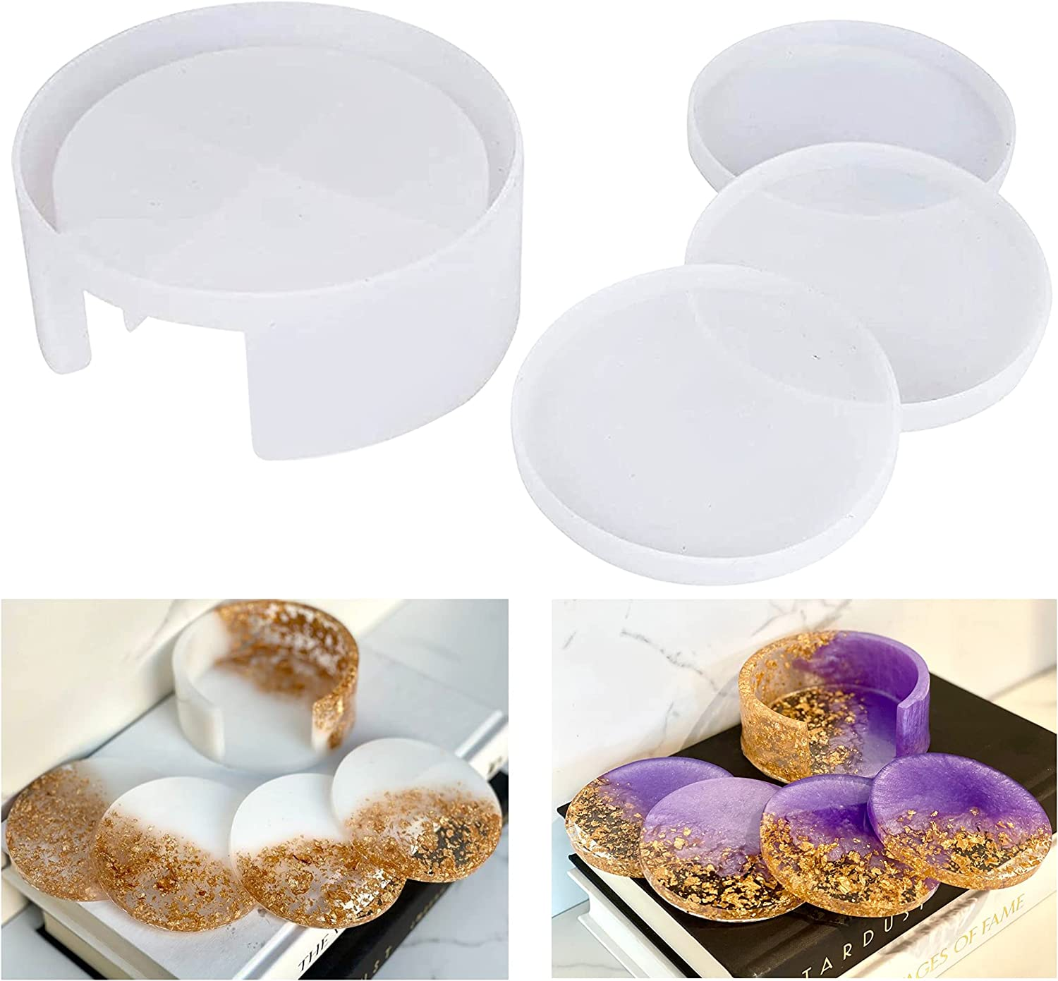 Coaster Luxury Molds for Great interest Resin Efivs 3PCS Hold with Arts