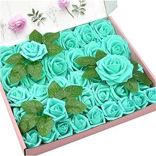 DerBlue 60pcs Three Different Sizes Artificial Roses Flowers Foam Roses Bulk w/Stem for DIY Wedding Bouquets Corsages Centerpieces Arrangements Baby Shower Cake Flower Decorations (Tiffany Blue)