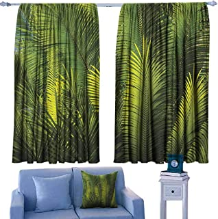 Palm Tree Curtain for Kids Plam Tree Foliage Tropical Plants Leaves Forest Theme Exotic Natural Beauty Image Noise Reducing 63