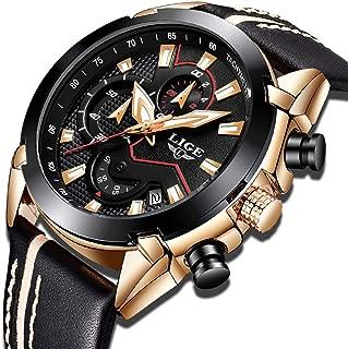 LIGE Mens Watches Fashion Sports Analog Quartz Watch Men Gold Black Waterproof Date Watch Luxury Casual Leather Chronograph Wrist Watch