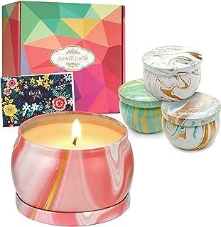 DIY OrganicZ Scented Candle Gift Set – 4.4 Oz | 4 Pure Soft Fragrances to set Mood (Sandalwood, Wild Bluebell, Aloe, Jasmi...