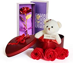 TIED RIBBONS Valentine Gift for Boyfriend Girlfriend Husband Wife Him Her - Gift Combo Pack (Valentines Special 24K Gold Plated Rose, Scented Rose Flowers with Teddy Gift Box)