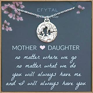 EFYTAL Mom Gifts, 925 Sterling Silver Mommy & Baby Bird Necklace for Mother & Daughter, Necklaces for Women, Best Birthday Gift Ideas, Pendant Mother's Jewelry For Her, Mothers Day
