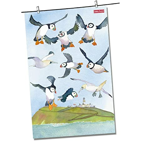 """Pure cotton tea towel Emma Ball /""""Woolly Puffins/"""" Printed in the UK."""