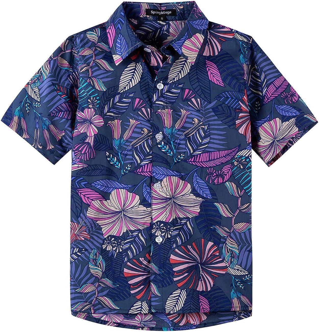 Spring&Gege Boys' Short Sleeve Hawaiian Shirt Cartoon Print Aloha Button Down Shirts (4-14 Years)