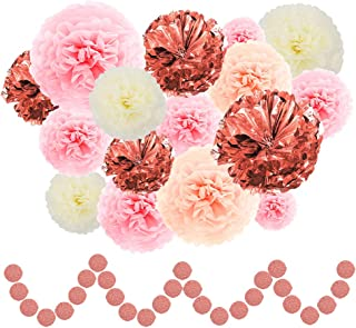 ZJHAI 26pcs Rose Gold Party Decoration - Aluminum Foil Pom Poms, Paper Pom Poms (6, 8, 10, 12, 14inch) and Circle Dots Garland for Baby Shower, Wedding Decoration, Bridal Shower, Birthday Party