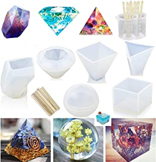 MSDADA Resin Casting Molds with Manual,Jewelry Making DIY Craft, 6 Pack,Including Spherical, Cubic, Diamond, Triangular Pyramid,Pyramid,Stone Shape Mold, Measurement Cups,Wood Sticks