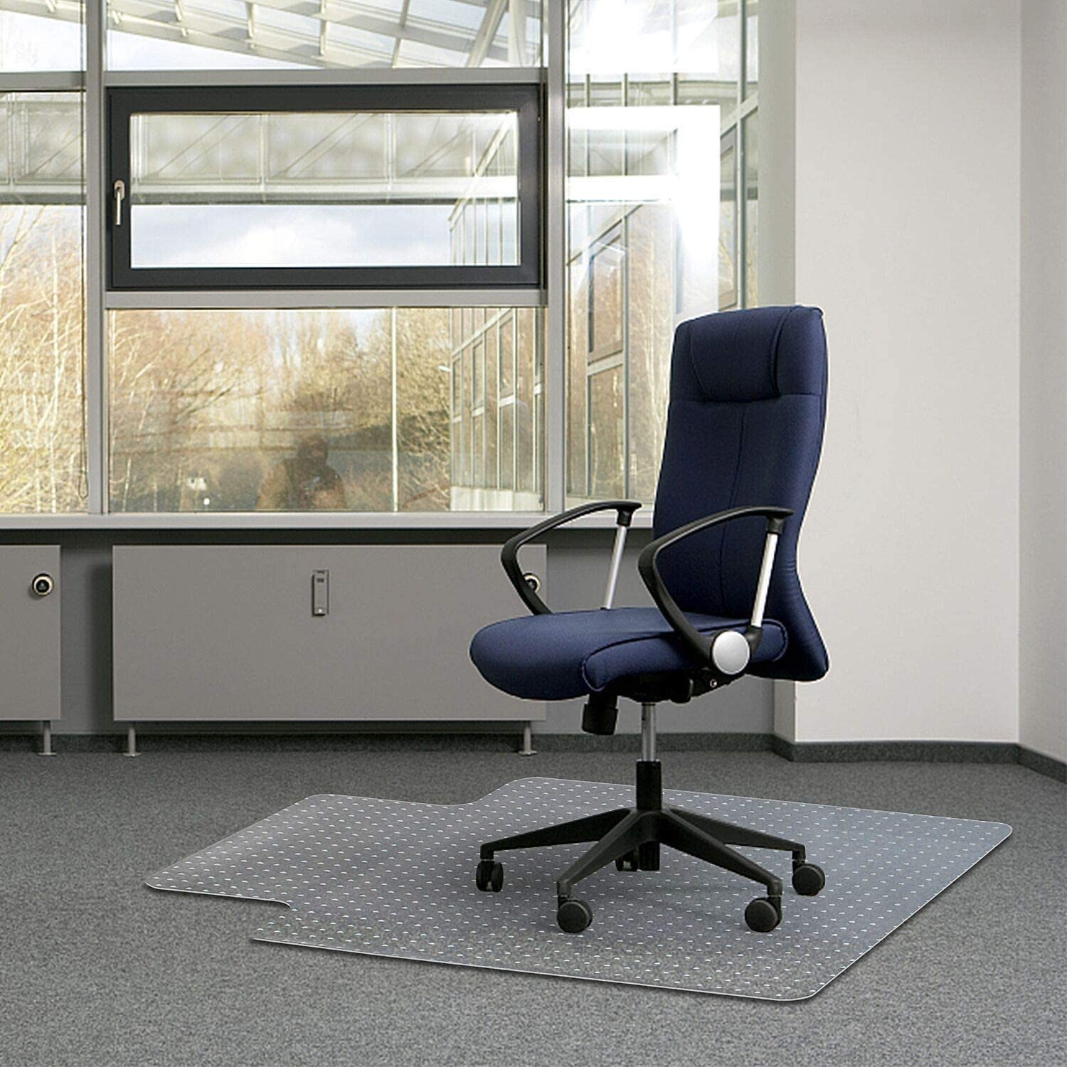 """Kuyal Office Chair Mat for Carpets, Transparent Thick and Sturdy Highly Premium Quality Floor Mats for Low, Standard and No Pile Carpeted Floors, with Studs (30"""" X 48"""" with Lip) : Office Products"""
