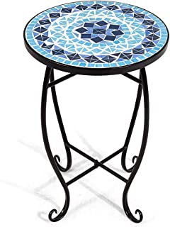 LHONE Cobalt Mosaic Steel Lant Stand Round Accent Table for Patio Metal Cobalt Glass Top Indoor Outdoor Coffee End Table (Blue)
