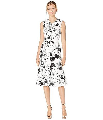 Calvin Klein Floral Print Midi Dress (Cream/Black) Women